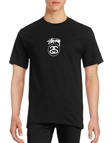 Stussy Logo Cotton T-Shirt-BLACK-Large