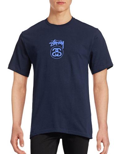 Stussy Logo Cotton T-Shirt-BLUE-Large