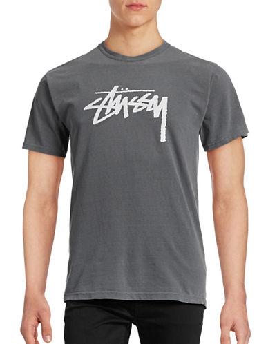 Stussy Logo Cotton T-Shirt-BLACK-Small 88867725_BLACK_Small