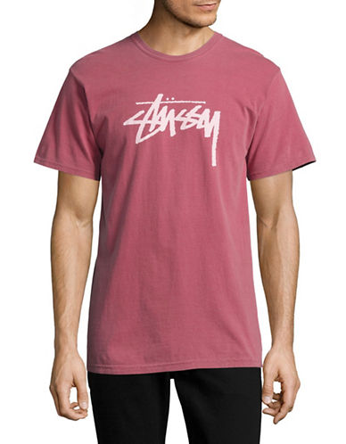 Stussy Logo Cotton T-Shirt-RED-X-Large 88867732_RED_X-Large