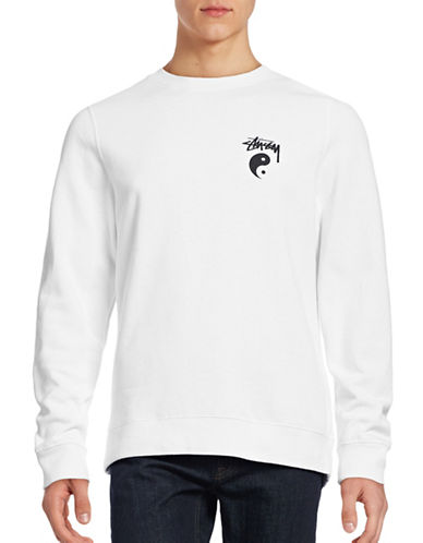 Stussy Ying Yang Crew Sweater-WHITE-Large