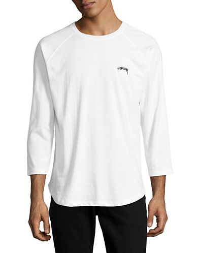 Stussy Long Sleeve Laguna Dot Raglan Jersey Top-WHITE-Medium 89127890_WHITE_Medium