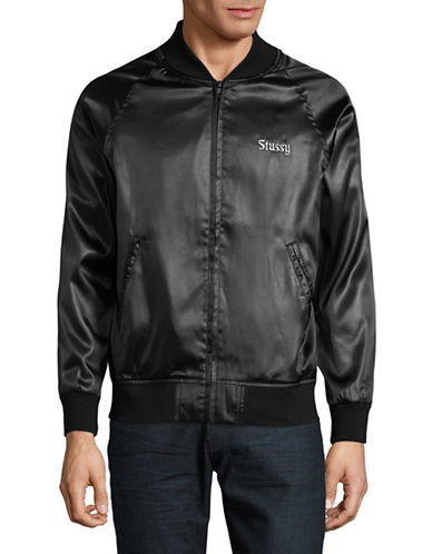 Stussy Embroidered California Satin Jacket-BLACK-Large