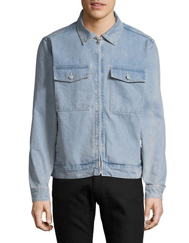 Stussy Washed Denim Garage Jacket-BLUE-Large
