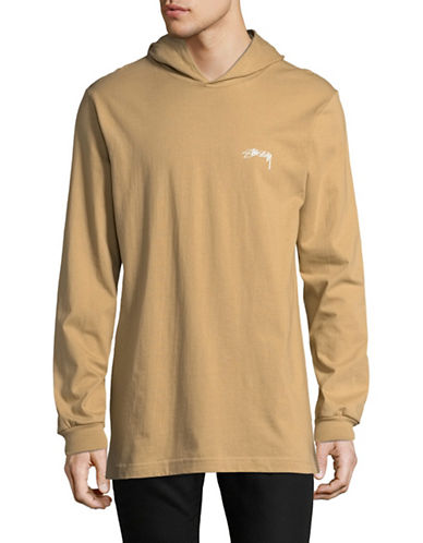 Stussy Hooded Long-Sleeve T-Shirt-BROWN-Medium