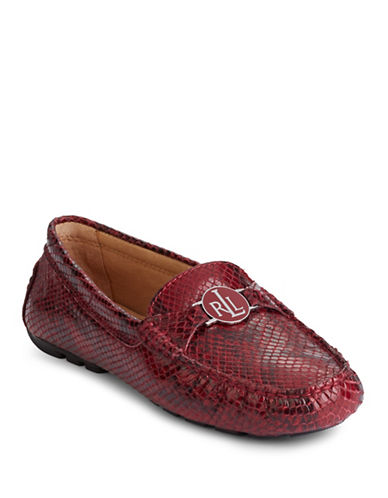 Lauren Ralph Lauren Snake-Embossed Driver Shoes-RED SNAKE-6