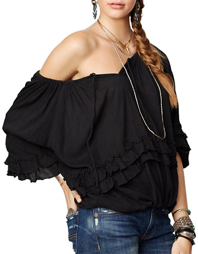 Denim & Supply Ralph Lauren Ruffled Boho Top-BLACK-Small 87437216_BLACK_Small