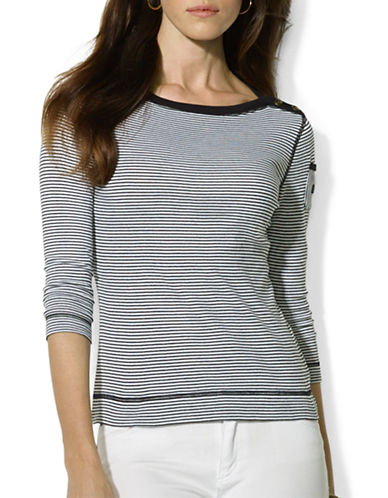 Lauren Ralph Lauren Petite Stripe Boat Neck Pocket Shirt-BLACK-Petite X-Small 87784948_BLACK_Petite X-Small