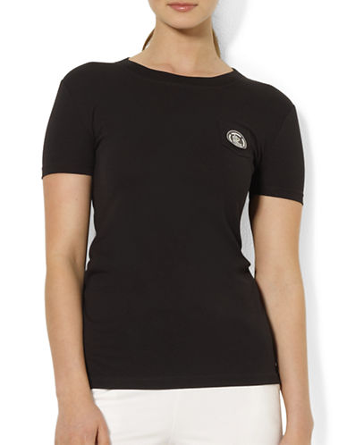 Lauren Ralph Lauren Embroidered Pocket Tee-BLACK-Medium 87784984_BLACK_Medium