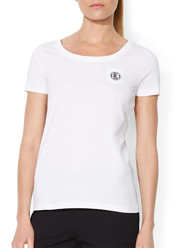 Lauren Ralph Lauren Embroidered Pocket Tee-WHITE-Large 87784990_WHITE_Large