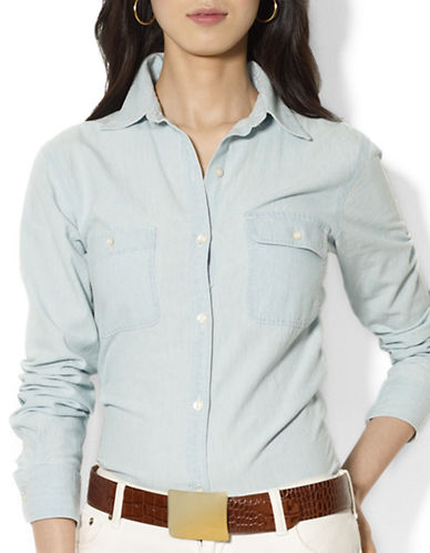 Lauren Ralph Lauren Two-Pocket Chambray Shirt-BLUE-Small