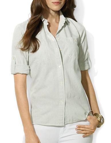 Lauren Ralph Lauren Shirting Stripe Roll-Tab Shirt-BLUE-Small 87786511_BLUE_Small