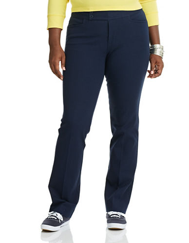 Chaps Plus Straight Leg Stretch Cotton Pants-NAVY-24W 87771206_NAVY_24W