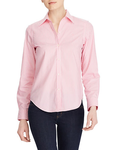 Lauren Ralph Lauren Wrinkle-Free Striped Dress Shirt-PINK-Small