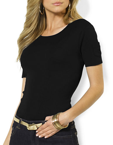 Lauren Ralph Lauren Solid Ribbed T-Shirt-BLACK-Large
