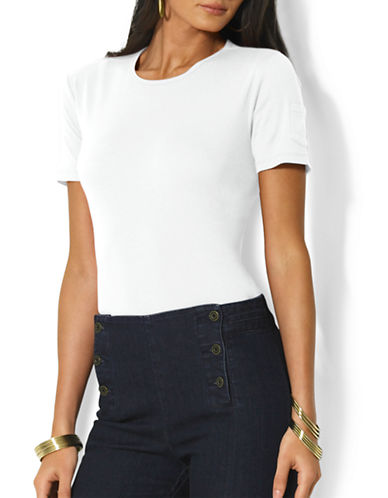 Lauren Ralph Lauren Solid Ribbed T-Shirt-WHITE-Large