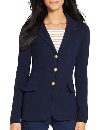 Lauren Ralph Lauren Cotton Sweater Blazer-NAVY-Large