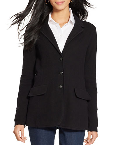 Lauren Ralph Lauren Cotton Sweater Blazer-BLACK-Small