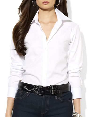 Lauren Ralph Lauren Petite Sateen Striped Dress Shirt-WHITE-Petite X-Small