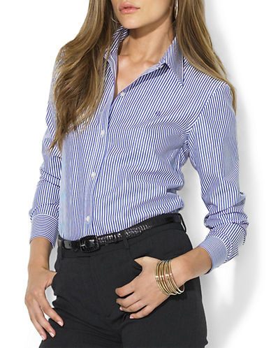 Lauren Ralph Lauren Petite Sateen Striped Dress Shirt-BLUE-Petite Medium