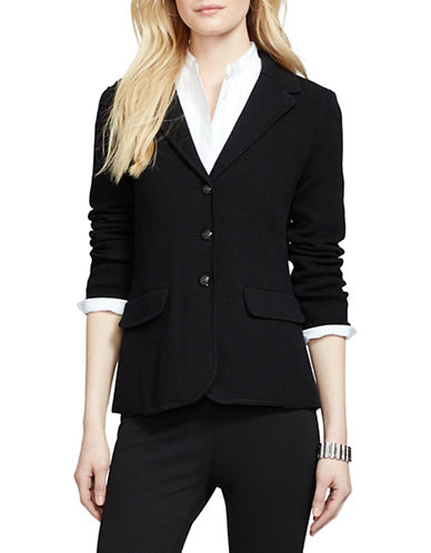 Lauren Ralph Lauren Petite Cotton Sweater Blazer-BLACK-Petite Large