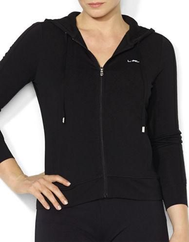 Lauren Ralph Lauren Plus Full-Zip Jersey Hoodie-BLACK-1X 87790905_BLACK_1X