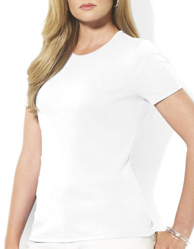 Lauren Ralph Lauren Plus Ribbed Crew Neck T-Shirt-WHITE-3X