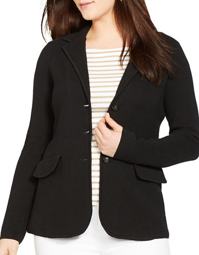 Lauren Ralph Lauren Plus Cotton Sweater Blazer-BLACK-2X