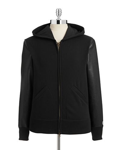 Todd Snyder X Champion Leather Style Zip Hoodie-BLACK-X-Large 87932591_BLACK_X-Large