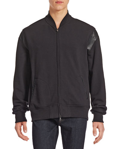 Todd Snyder X Champion Faux Leather Zip Bomber-BLACK-Medium