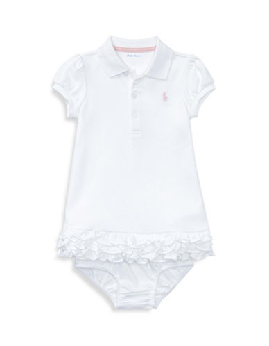 Ralph Lauren Childrenswear Ruffled Polo Dress Set-WHITE-24 Months