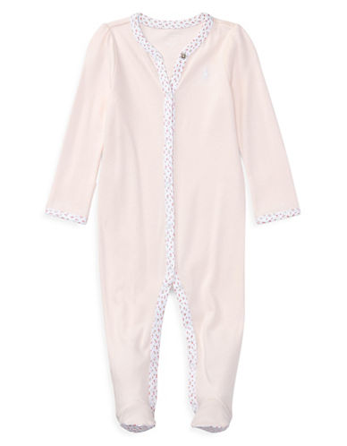 Ralph Lauren Childrenswear Floral Trim Coverall-PINK-6 Months