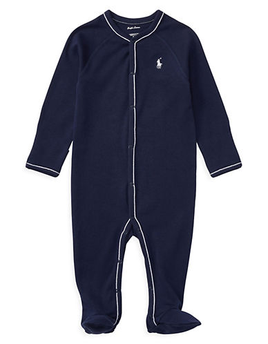 Ralph Lauren Childrenswear Interlock Footed Coverall-NAVY-Newborn