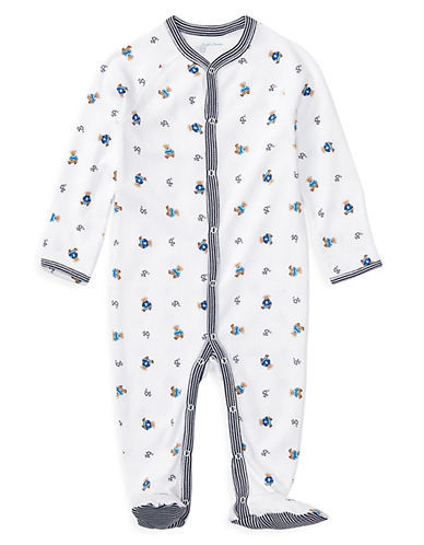 Ralph Lauren Childrenswear Bear Print Long Sleeve Footed Coverall-WHITE-Newborn