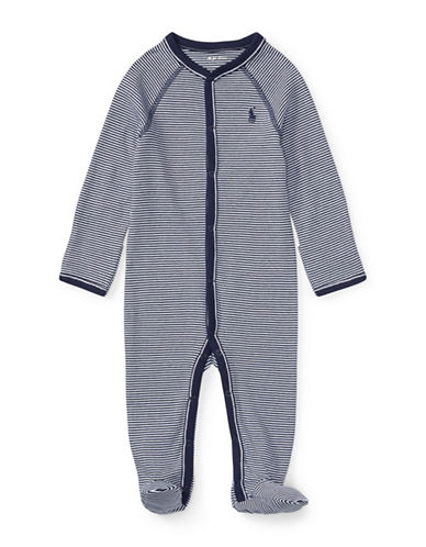 Ralph Lauren Childrenswear Striped Cotton Jersey Footie-BLUE-Newborn