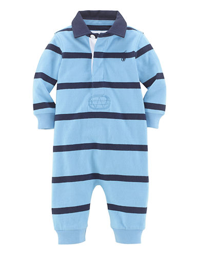 Ralph Lauren Childrenswear Short Sleeve Rugby One-Piece-BLUE-12 Months