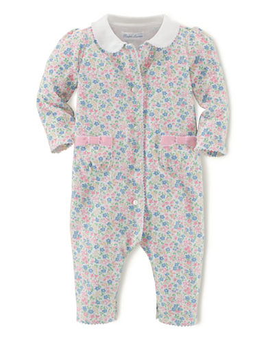 Ralph Lauren Childrenswear Floral Bow-Pocket One-Piece-MULTI COLOURED-6 Months