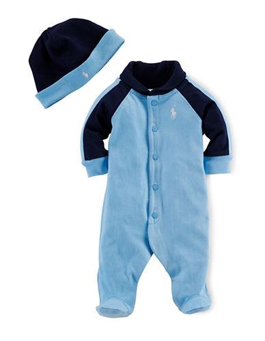 Ralph Lauren Childrenswear Two-Piece Cotton Footie Set-BLUE-6 Months