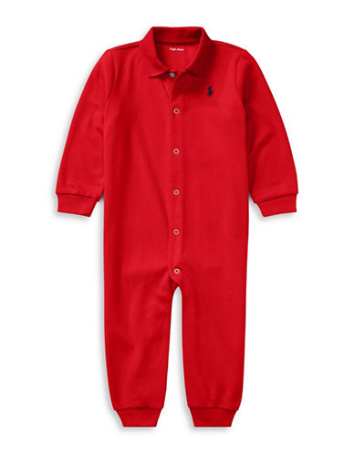 Ralph Lauren Childrenswear Cotton Coverall-RED-Newborn