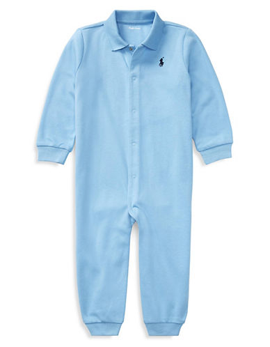 Ralph Lauren Childrenswear Solid Cotton Coverall-BLUE-6 Months