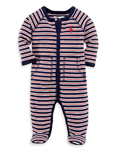 Ralph Lauren Childrenswear Striped One-Piece Footie-NAVY-9 Months