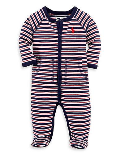 Ralph Lauren Childrenswear Striped One-Piece Footie-NAVY-6 Months