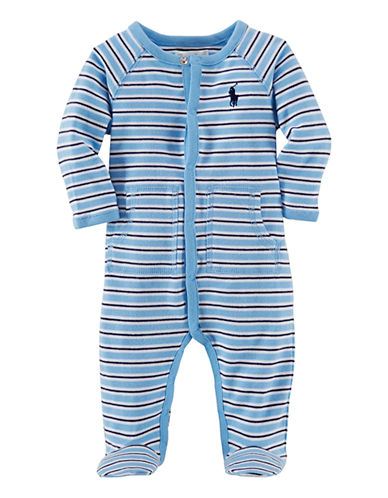 Ralph Lauren Childrenswear Striped Cotton Footie-BLUE MULTI-6 Months