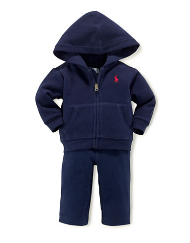 Ralph Lauren Childrenswear Hooded Fleece Set-NAVY-3 Months