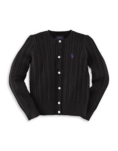 Ralph Lauren Childrenswear Cable-Knit Cardigan-POLO BLACK-3T
