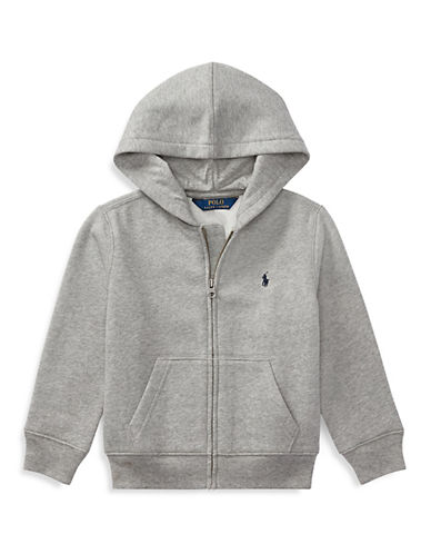 Ralph Lauren Childrenswear Front Zip Hoodie-HEATHER GREY-3T