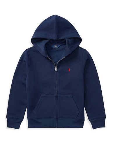 Ralph Lauren Childrenswear Front Zip Hoodie-NAVY-Medium