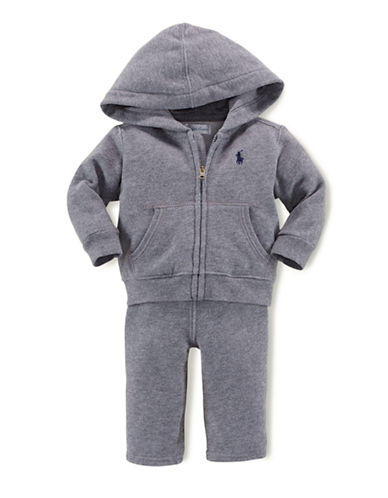 Ralph Lauren Childrenswear Hooded Fleece Set-GREY-24 Months