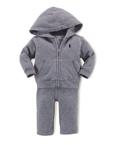 Ralph Lauren Childrenswear Hooded Fleece Set-GREY-18 Months