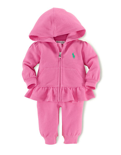 Ralph Lauren Childrenswear Two-Piece Fleece Peplum Hoodie Set-BERMUDA PINK-24 Months